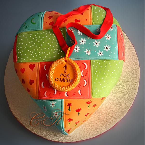 Торт на ситцевую свадьбу из ласкутов ткани