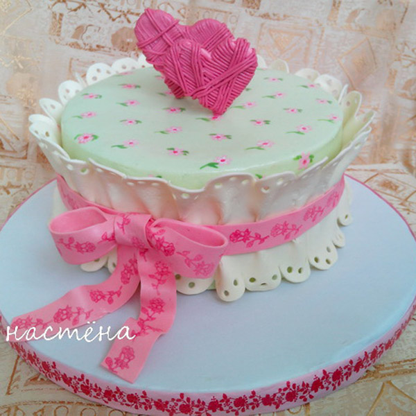Торт в виде ткани на свадьбу ситцевую