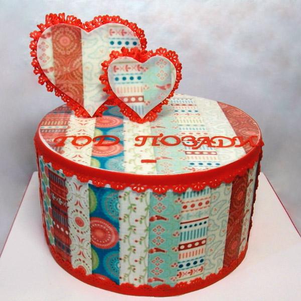 Торт как ткань с сердцами на свадьбу 1 год