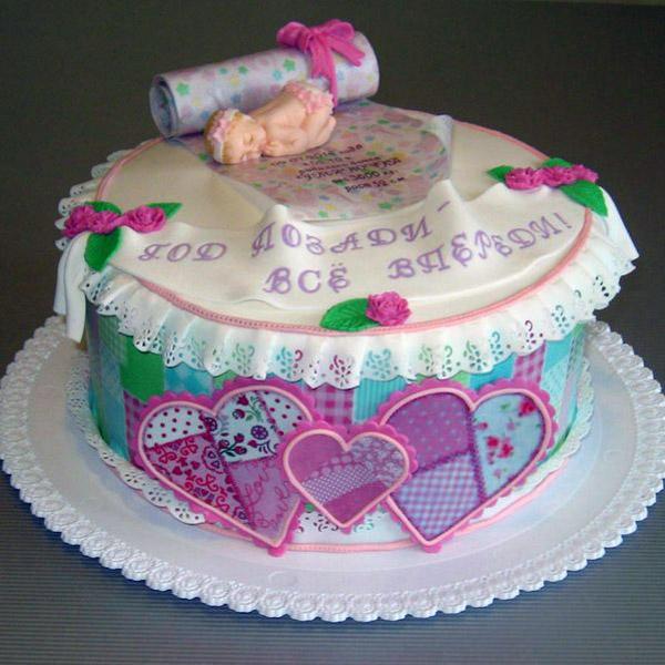 Торт на ситцевую годовщину куски ткани сердца