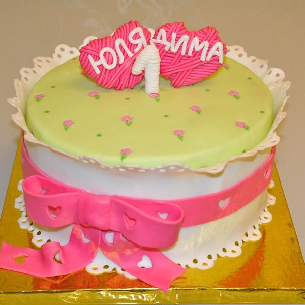 Торт на 1 год свадьбы ситцевую годовщину