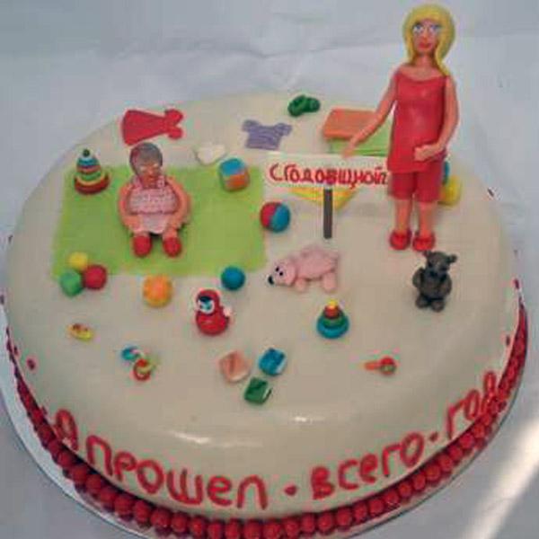 Торт на 1 год из мастики семья
