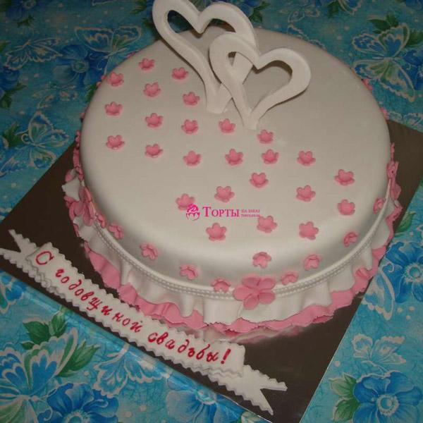 Торт на 1 год свадьбы сердца из мастики