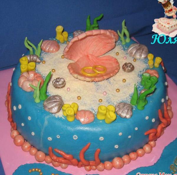 Торт на 1 годовщину в виде жемчуга
