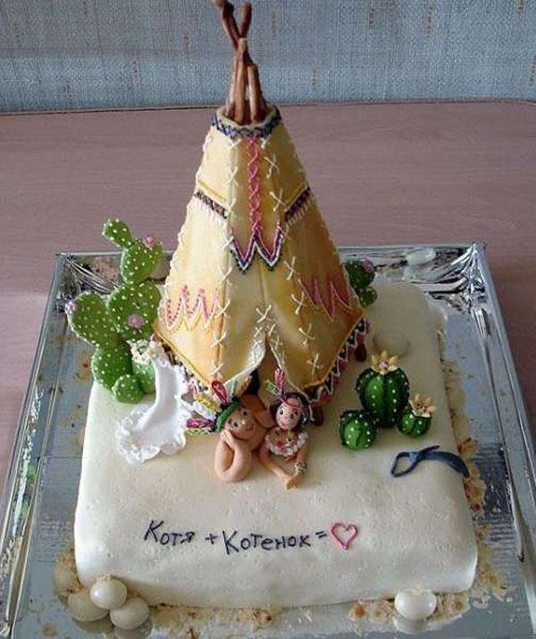 Торт 1 год свадьбы в виде шалаша