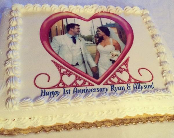 Торт на 1 год свадьбы фотопечать на сахарной бумаге