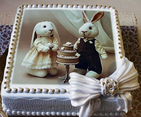 Торт на 1 год садьбы печать на сахарной бумаге