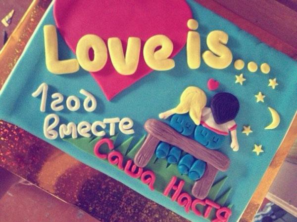 Торт на первую годовщину свадьбы Love is...