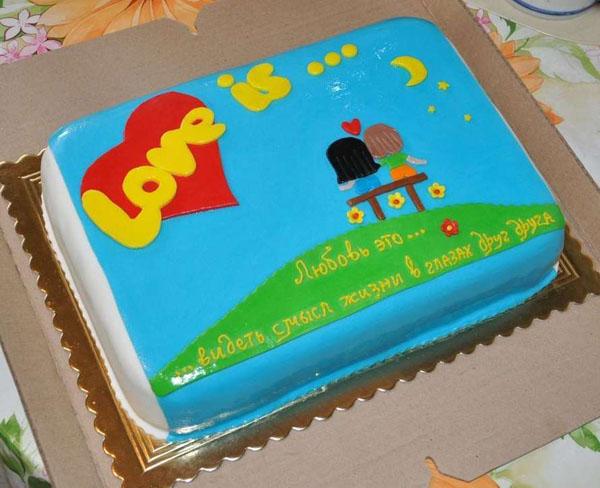 Торт на первую годовщину свадьбы Love is... жвачка