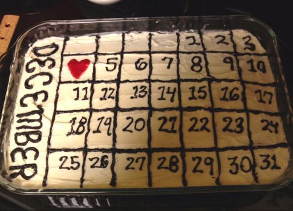 Торт на 1 годовщину свадьбы календарь