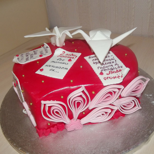 Торт из мастики бумажные голуби