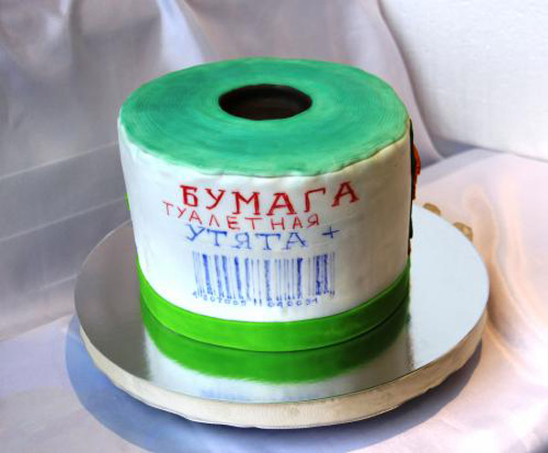 """Торт на 2 года свадьбы Туалетная бумага """"УТЯТА"""""""