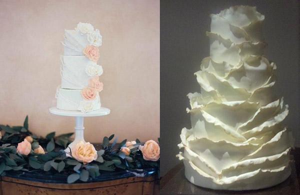 Торт в виде лепестков роз и бумаги