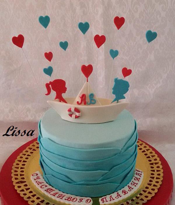 Торт бумажный кораблик молодых