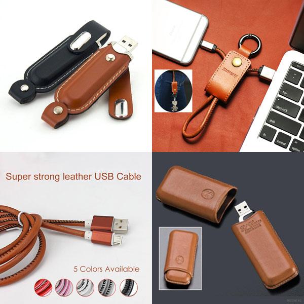 USB флешка из кожи, зарядные кабели из кожи