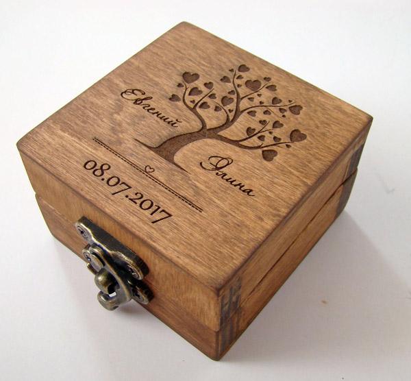 Деревянная шкатулка с именами супругов на 5 годовщину свадьбы