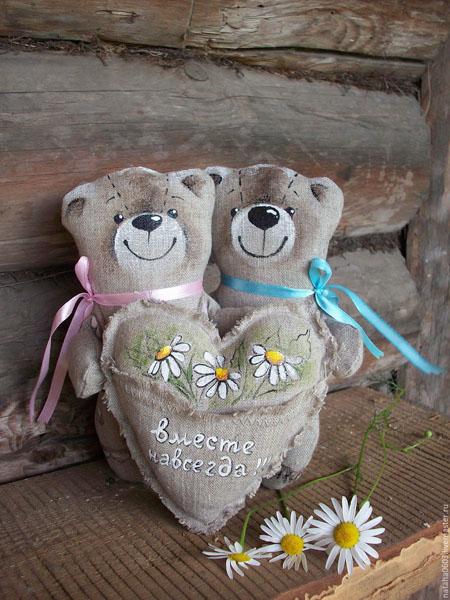 Юбилей свадьбы 4 года мишки из льна