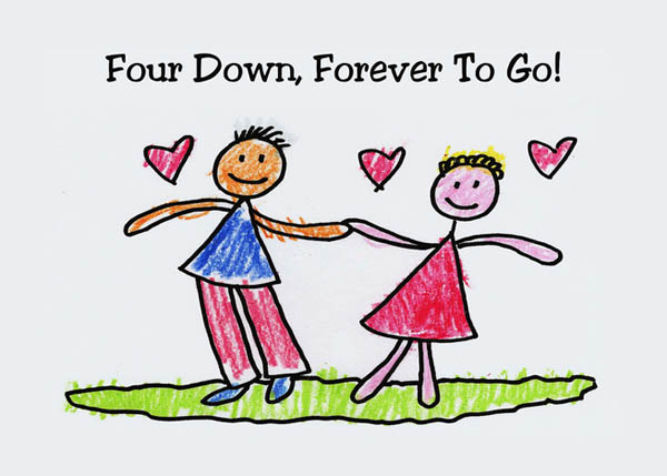 Картинка 4-я годовщина свадьбы мальчик и девочка