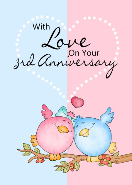 Картинка 3 года свадьбы птички