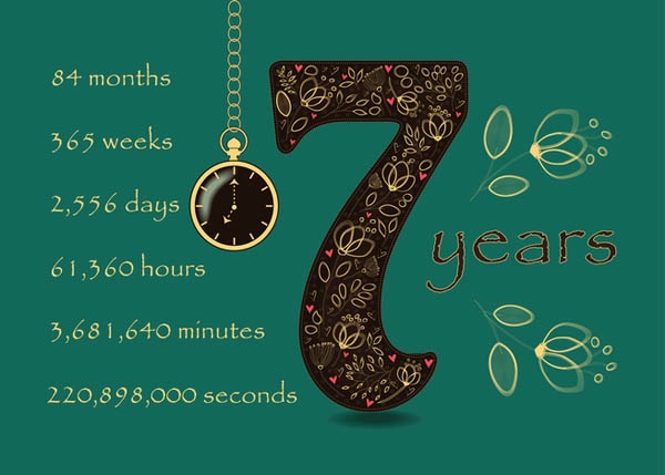 7 лет свадьбы годы, месяцы, дни, часы, минуты, секунды
